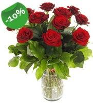 11 adet vazo içerisinde kırmızı gül  Aksaray online çiçek gönderme sipariş