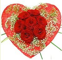 Mika kalp içerisinde 7 adet kırmızı gül  Aksaray çiçekçi mağazası