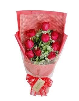 9 adet kırmızı gülden görsel buket  Aksaray ucuz çiçek gönder