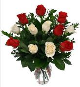 Vazo içerisinde 6 kırmızı 6 beyaz gül  Aksaray hediye çiçek yolla