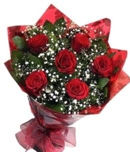 6 adet kırmızı gülden buket  Aksaray yurtiçi ve yurtdışı çiçek siparişi