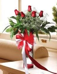 Camda 5 kırmızı gül tanzimi  Aksaray çiçekçi telefonları