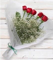 5 kırmızı gülden sade buket  Aksaray çiçek yolla