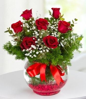 fanus Vazoda 7 Gül  Aksaray çiçek , çiçekçi , çiçekçilik