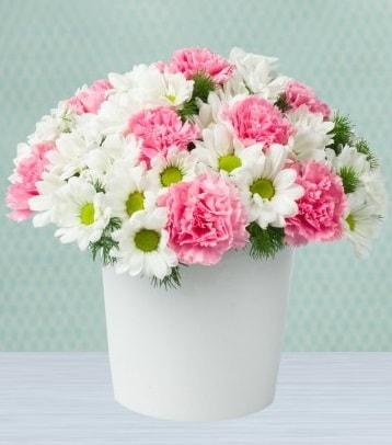 Seramik vazoda papatya ve kır çiçekleri  Aksaray çiçek siparişi sitesi