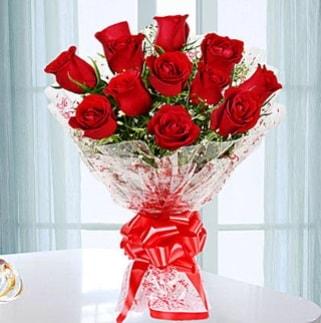 11 adet kırmızı gülden görsel şık buket  Aksaray ucuz çiçek gönder