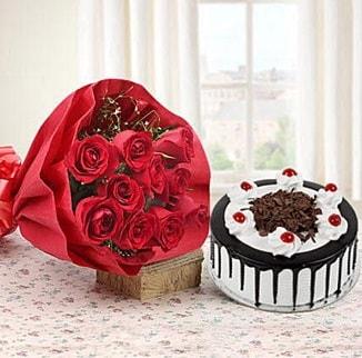 12 adet kırmızı gül 4 kişilik yaş pasta  Aksaray çiçek , çiçekçi , çiçekçilik