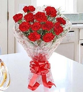 12 adet kırmızı karanfil buketi  Aksaray İnternetten çiçek siparişi
