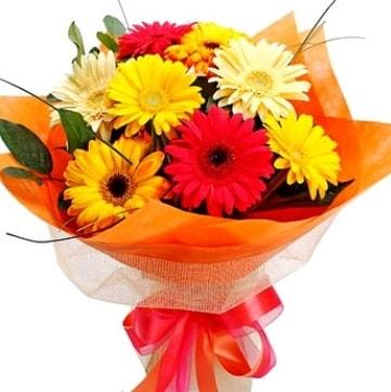 9 adet karışık gerbera buketi  Aksaray çiçek , çiçekçi , çiçekçilik