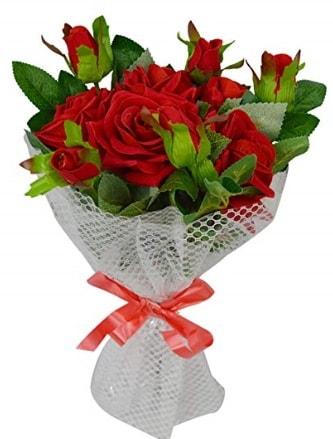 9 adet kırmızı gülden sade şık buket  Aksaray çiçekçi telefonları