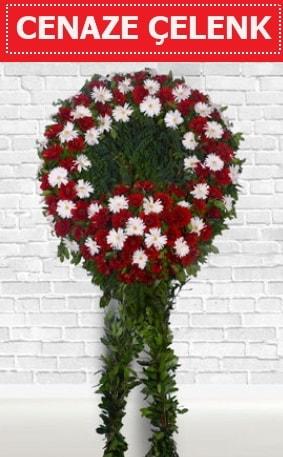 Kırmızı Beyaz Çelenk Cenaze çiçeği  Aksaray İnternetten çiçek siparişi