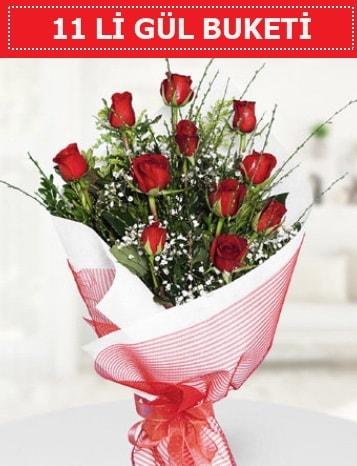 11 adet kırmızı gül buketi Aşk budur  Aksaray çiçek gönderme sitemiz güvenlidir