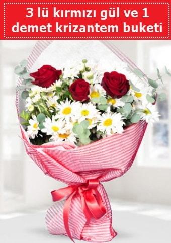 3 adet kırmızı gül ve krizantem buketi  Aksaray çiçek gönderme sitemiz güvenlidir