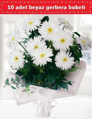 10 Adet beyaz gerbera buketi  Aksaray çiçek , çiçekçi , çiçekçilik