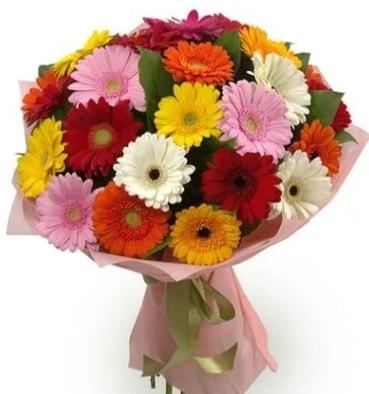 Karışık büyük boy gerbera çiçek buketi  Aksaray çiçek satışı