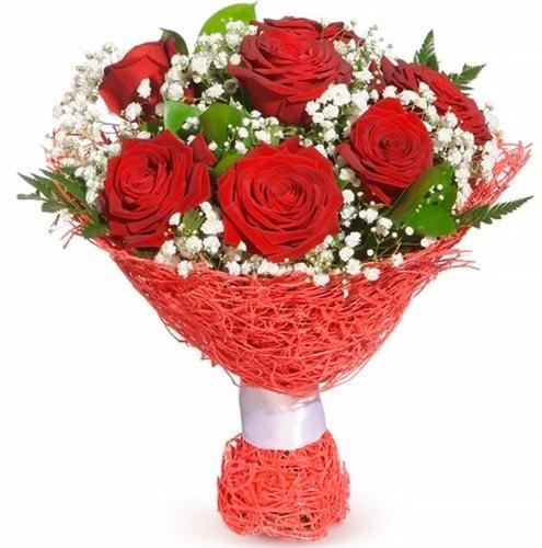 7 adet kırmızı gül buketi  Aksaray çiçekçiler