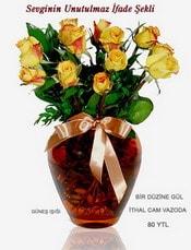 Aksaray internetten çiçek satışı  mika yada Cam vazoda 12 adet sari gül